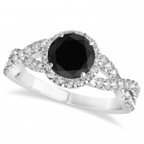 Black Diamond & Diamond Twisted Engagement Ring 14k White Gold 1.30ct
