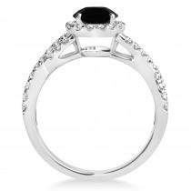 Black Diamond & Diamond Twisted Engagement Ring 14k White Gold 1.30ct