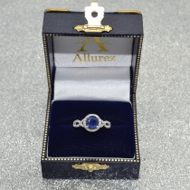 Blue Sapphire & Diamond Twisted Engagement Ring 14k White Gold 1.55ct