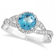 Blue Topaz & Diamond Twisted Engagement Ring 14k White Gold 1.50ct