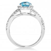 Blue Topaz & Diamond Twisted Engagement Ring 14k White Gold 1.50ct