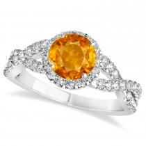 Citrine & Diamond Twisted Engagement Ring 14k White Gold 1.20ct