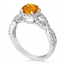 Citrine & Diamond Twisted Engagement Ring 14k White Gold 1.20ct