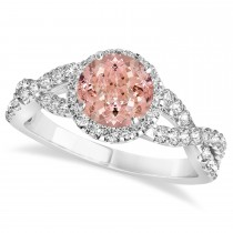 Morganite & Diamond Twisted Engagement Ring 14k White Gold 1.27ct