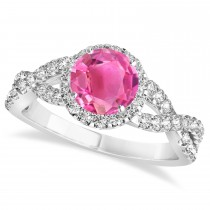 Pink Tourmaline & Diamond Twisted Engagement Ring 14k White Gold 1.25ct