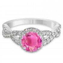 Pink Tourmaline & Diamond Twisted Engagement Ring 14k White Gold 1.25ct