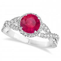 Ruby & Diamond Twisted Engagement Ring 14k White Gold 1.55ct