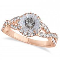 Salt & Pepper Diamond & Diamond Twisted Engagement Ring 14k Rose Gold 1.30ct