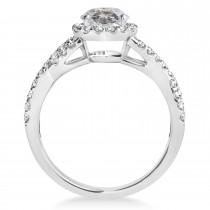 Salt & Pepper Diamond & Diamond Twisted Engagement Ring 14k White Gold 1.30ct