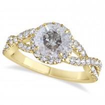 Salt & Pepper Diamond & Diamond Twisted Engagement Ring 14k Yellow Gold 1.30ct