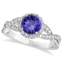 Tanzanite & Diamond Twisted Engagement Ring 14k White Gold 1.55ct