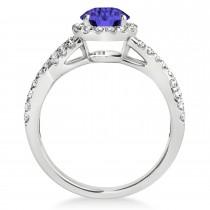 Tanzanite & Diamond Twisted Engagement Ring 14k White Gold 1.55ct