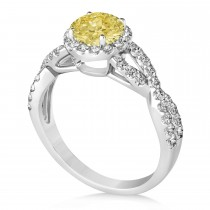 Yellow Diamond & Diamond Twisted Engagement Ring 14k White Gold 1.30ct