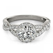 Moissanite Infinity Twisted Halo Engagement Ring 18k White Gold 1.00ct