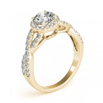 Moissanite Infinity Twisted Halo Engagement Ring 18k Yellow Gold 1.00ct