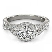 Moissanite Infinity Twisted Halo Engagement Ring Palladium 1.00ct