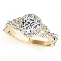 Moissanite Infinity Twisted Halo Engagement Ring 14k Yellow Gold 2.00ct