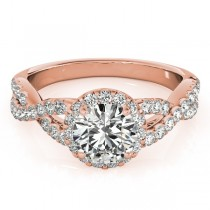 Moissanite Infinity Twisted Halo Engagement Ring 18k Rose Gold 2.00ct
