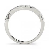 Diamond Indented Contour Wedding Band 14k White Gold (0.21ct)