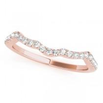 Diamond Indented Contour Wedding Band 18k Rose Gold (0.21ct)