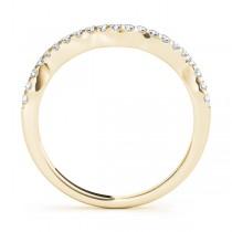 Diamond Indented Contour Wedding Band 18k Yellow Gold (0.21ct)