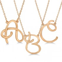 Personalized Cursive Script Single Initial Pendant in 14k Rose Gold