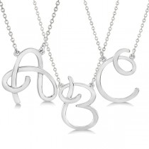 Personalized Cursive Script Single Initial Pendant in 14k White Gold