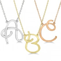 Personalized Cursive Script Single Initial Pendant in 14k Yellow Gold|escape