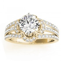 Diamond Three Row Clover Engagement Ring 14k Yellow Gold (0.58ct)