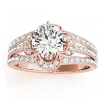 Diamond Three Row Clover Engagement Ring 18k Rose Gold (0.58ct)