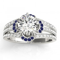 Diamond & Blue Sapphire Clover Engagement Ring 14k White Gold (0.58ct)