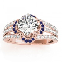 Diamond & Blue Sapphire Clover Engagement Ring 18k Rose Gold (0.58ct)