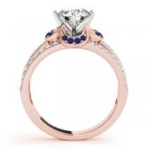 Diamond & Blue Sapphire Clover Engagement Ring 18k Rose Gold (0.58ct)