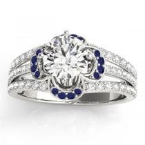 Diamond & Blue Sapphire Clover Engagement Ring 18k White Gold (0.58ct)