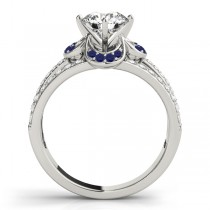 Diamond & Blue Sapphire Clover Engagement Ring 18k White Gold (0.58ct)