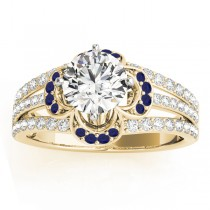 Diamond & Blue Sapphire Clover Engagement Ring 18k Yellow Gold (0.58ct)