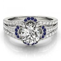 Diamond & Blue Sapphire Clover Engagement Ring Palladium (0.58ct)