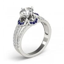 Diamond & Blue Sapphire Clover Engagement Ring Platinum (0.58ct)