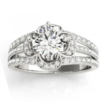 Diamond Three Row Clover Engagement Ring Setting Platinum (0.58ct)