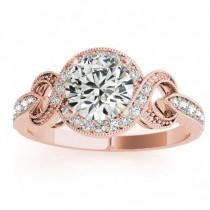 Vintage Style Halo Diamond Engagement Ring Setting 14k R. Gold 0.25ct