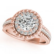 Vintage Halo Round Cut Diamond Engagement Ring 18k Pink Gold 1.19ct
