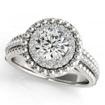 Vintage Halo Round Cut Diamond Engagement Ring Palladium 1.19ct