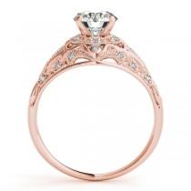 Vintage Art Deco Diamond Engagement Ring Setting 14k Pink Gold 0.20ct