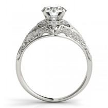 Vintage Art Deco Diamond Engagement Ring Setting 14k White Gold 0.20ct
