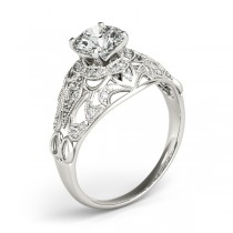 Vintage Art Deco Diamond Engagement Ring Setting Palladium 0.20ct