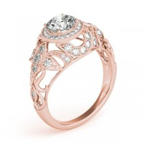 Edwardian Diamond Halo Engagement Ring Floral 14k Rose Gold 1.20ct