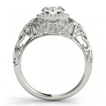 Edwardian Diamond Halo Engagement Ring Floral 14k White Gold 1.20ct