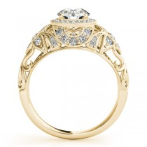 Edwardian Diamond Halo Engagement Ring Floral 14k Yellow Gold 1.20ct