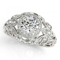 Edwardian Diamond Halo Engagement Ring Floral 18k White Gold 1.18ct
