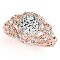 Edwardian Diamond Halo Engagement Ring Floral 14k Rose Gold 2.00ct
